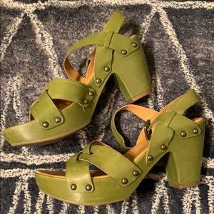 Kork Ease Deborah heel shoe 9 green leather